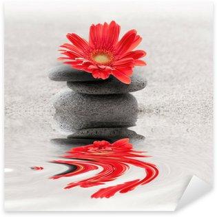 Autocolante Pixerstick Galets et gerbera reflet zen