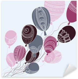 Autocolante Pixerstick Ilustração com balões coloridos que voam