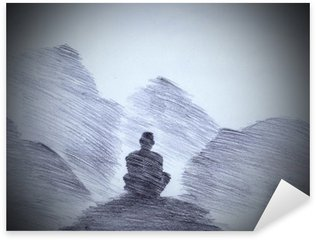 Autocolante Pixerstick Monge budista nas montanhas