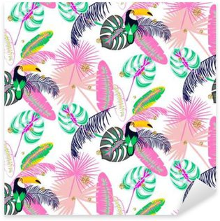 Autocolante Pixerstick Monstera folhas de plantas rosa tropical e pássaro tucano padrão sem emenda. padrão de natureza exótica para a tela, papel de parede ou vestuário.