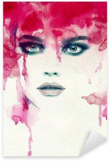 Autocolante Pixerstick Mulher bonita. Ilustração da aguarela