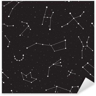 Autocolante Pixerstick Noite estrelado, teste padrão sem emenda, fundo com estrelas e constelações, ilustração vetorial