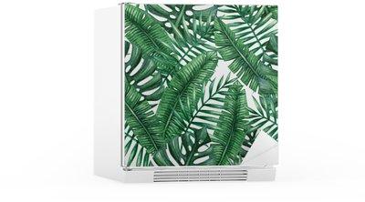 Autocolante para Frigorífico Aquarela folhas de palmeira tropicais padrão sem emenda. ilustração do vetor.