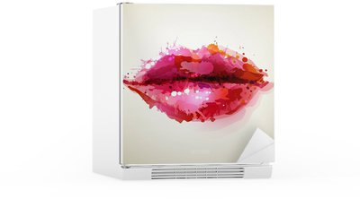 Autocolante para Frigorífico Beautiful womans lips formed by abstract blots