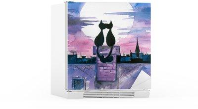 Autocolante para Frigorífico Cats in love watercolor painted.
