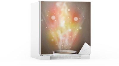 Autocolante para Frigorífico Coffee mug with abstract steam and colorful lights