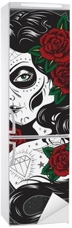 Autocolante para Frigorífico Day of dead girl tattoo illustration