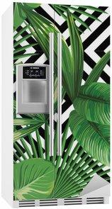 Autocolante para Frigorífico Folhas de palmeira tropicais padrão, fundo geométrico