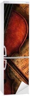 Autocolante para Frigorífico Geige auf Notenblatt