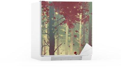 Autocolante para Frigorífico Homem que está na floresta bonita com folhas de queda, pintura ilustração