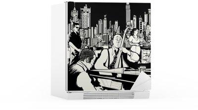 Autocolante para Frigorífico Jazz band playing in New York