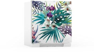 Autocolante para Frigorífico pattern orchid hibiscus leaves watercolor tropics