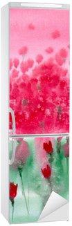Autocolante para Frigorífico Pintura em aquarela. prado Fundo com flores vermelhas.