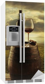 Autocolante para Frigorífico Red wine vineyard