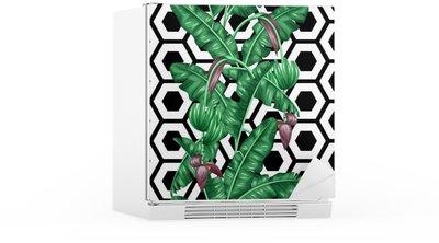 Autocolante para Frigorífico Seamless com folhas de bananeira. Imagem decorativa de vegetação tropical, flores e frutos. Fundo feito sem máscara de corte. Fácil de usar para pano de fundo, têxtil, papel de embrulho