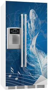 Autocolante para Frigorífico Silver treble clef in the form of the bird's feather on the blue