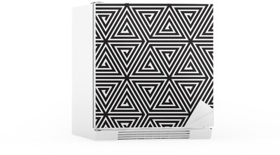 Autocolante para Frigorífico Triangles, Black and White Abstract Seamless Geometric Pattern,
