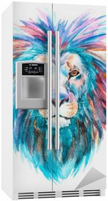 Autocolante para Frigorífico Vector leão Watercolor