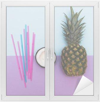 Autocolante para Janelas e Vidros Abacaxi e metade do coco para a festa com palhas no pastel