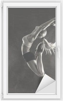 Autocolante para Janelas e Vidros Feminino mulher de fitness com muscular salto corpo.