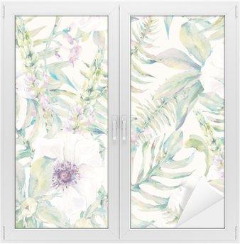Autocolante para Janelas e Vidros Folha Watercolor padrão sem emenda com samambaias e flores