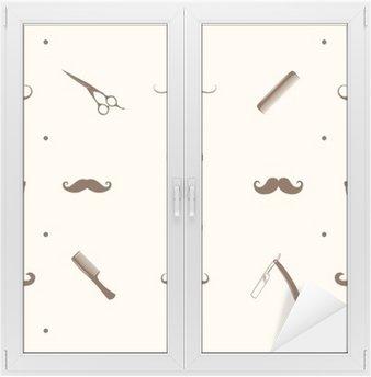 Autocolante para Janelas e Vidros Padrão barbearia Seamless