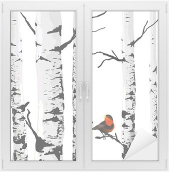 Autocolante para Janelas e Vidros Pássaro de bétulas, desenho vetorial com elementos editáveis.