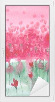 Autocolante para Janelas e Vidros Pintura em aquarela. prado Fundo com flores vermelhas.