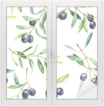 Autocolante para Janelas e Vidros Seamless com ramos de oliveira. Desenho ilustração da aguarela.