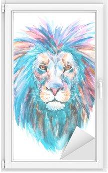 Autocolante para Janelas e Vidros Vector leão Watercolor