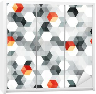 Autocolante para Roupeiro abstract cubes seamless pattern with grunge effect
