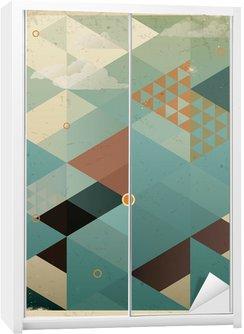 Autocolante para Roupeiro Abstract Retro Geometric Background with clouds