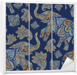 Autocolante para Roupeiro Aquarela elefante étnica com elementos de paisley background.