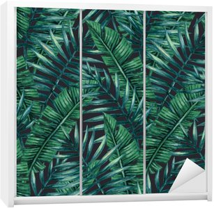 Autocolante para Roupeiro Aquarela folhas de palmeira tropicais padrão sem emenda. ilustração do vetor.