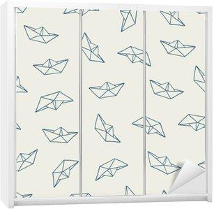 Autocolante para Roupeiro Barco de papel padrão sem emenda