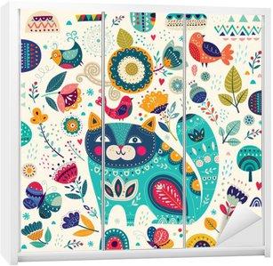 Autocolante para Roupeiro Ilustração colorida do vetor com gato bonito, borboletas, pássaros e flores