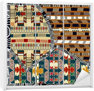Autocolante para Roupeiro Indiana ilustração pattern.Vector emenda colorida tribal