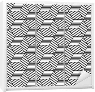 Autocolante para Roupeiro Padrão geométrico sem emenda com cubos.