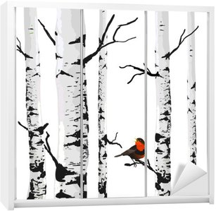 Autocolante para Roupeiro Pássaro de bétulas, desenho vetorial com elementos editáveis.