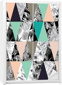 Autocolante para Roupeiro Patchwork tropical fundo transparente