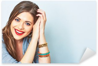 Autocolante Pixerstick Retrato da face da mulher de sorriso. Dentes menina de sorriso. um modelo