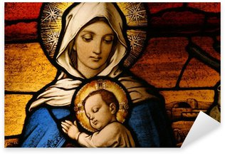 Autocolante Pixerstick Stained glass depicting the Virgin Mary holding baby Jesus