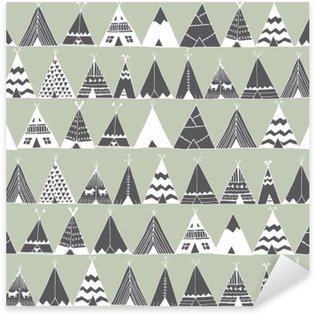 Autocolante Pixerstick Teepee americano ilustração tenda verão nativa.