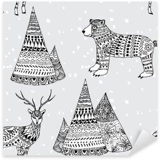 Autocolante Pixerstick Urso, veados e mountain tirada mão teste padrão do inverno