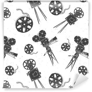 Vinyl Behang Camera en film reel vintage naadloze patroon, handgetekende schets, retro film industrie, vector illustratie