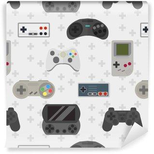 Vinyl Behang Gamepad kleurrijk naadloos patroon