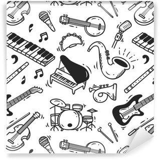 Vinyl Behang Muziek instrument doodle achtergrond