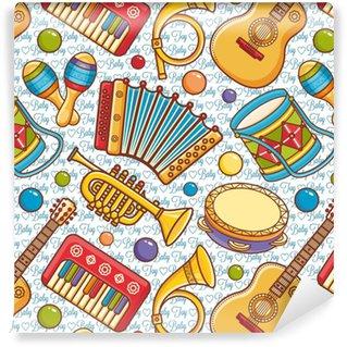 Vinyl Behang Muziekinstrument naadloos patroon. cartoon stijl