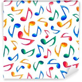 Vinyl Behang Naadloze muzikale patroon - notities
