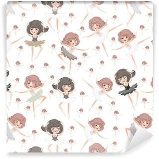 Vinyl Behang Naadloze patroon met ballerina's.
